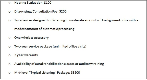 An example of an itemized bundle with three separate fees