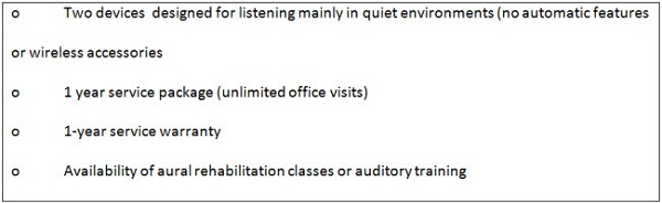 Example of baseline Quiet Listening package