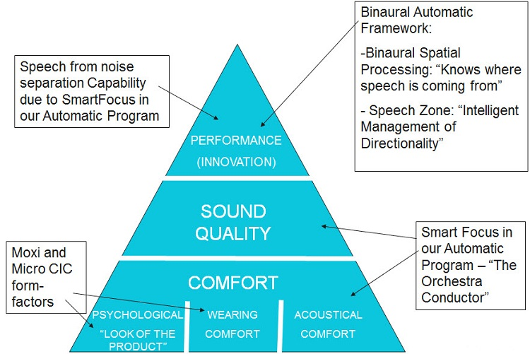 Breakdown of Product Success Pyramid into products and features