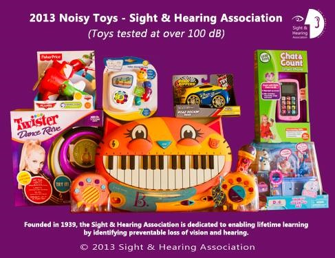 Infographic on children's toys and hearing loss