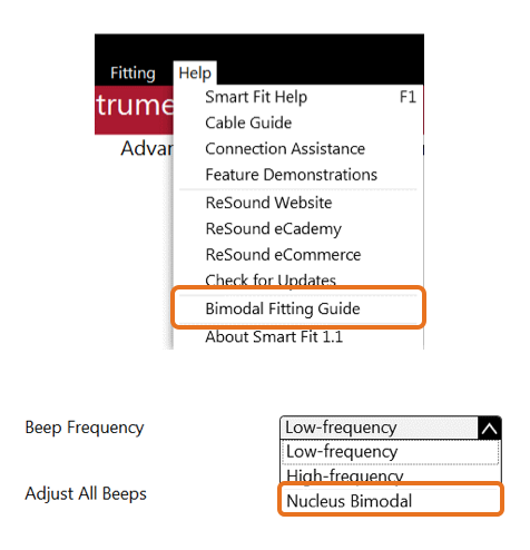 Smart Fit access to Bimodal Fitting Guide and Nucleus Bimodal Beep frequency option