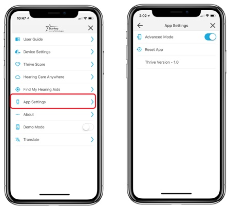App Settings advanced or basic mode toggle