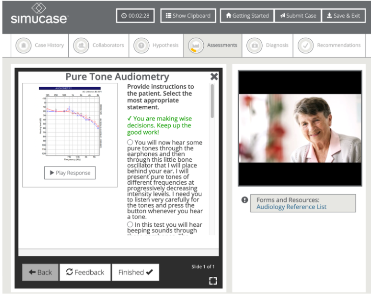 A screenshot within a Simucase audiology simulation addressing the administration of pure tone audiometry.
